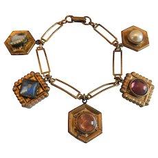 Vintage Brass Fob Charm Bracelet