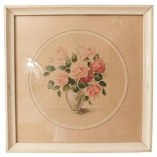 Mid Century Framed Rose Floral Print