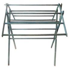 Deep Teal Blue Antique Wooden Folding Rack