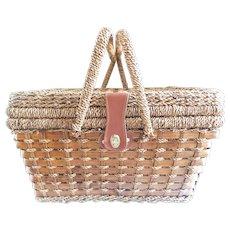 Vintage Seagrass Picnic Basket