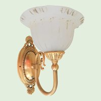 Brass and Frosted Glass Vintage Wall Sconce