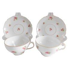 Victoria Czechoslovakia Antique Porcelain Rose Porcelain Cups and Saucers - A Pair