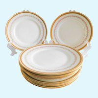 Limoges Floral Porcelain Pitkin & Brooks Dessert, Bread Plates - Set of 8