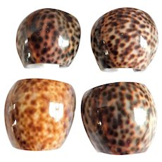 Vintage Tiger Cowrie 1970's Shell Napkin Rings - Set of Four