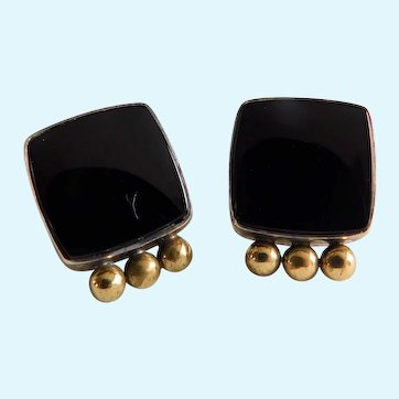 Black Onyx 925 Silver and Gold Square Post Earrings