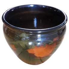 French Majolica Art Nouveau Antique Brown Glazed Poppy Floral Planter/Flower Pot