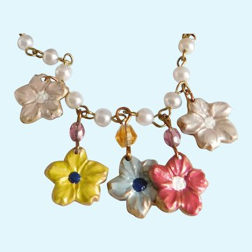 Hand-Painted Vintage Flower and Pearl Charm Necklace
