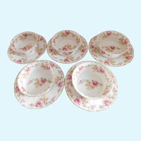 Vintage Limoges Elite Ramekins and Under Plates With Pink Flowers - Set of Five