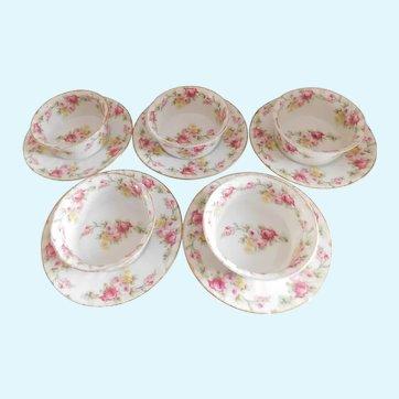 Vintage Limoges Elite Ramekins and Under Plates With Pink Flowers - Set of Five