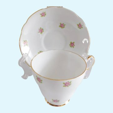 Regency Porcelain Rosebud Tea Cup and Saucer Made in England - a Pair