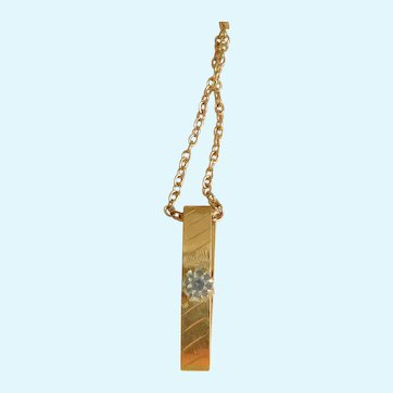 Victorian Lingerie Pin ID Necklace with Semi Precious Crystal on Chain