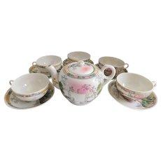 Mid Century Japanese Porcelain Scenic Tea Set - Set of Four
