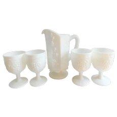 Vintage Westmoreland Milk Glass Pitcher and Goblets- Set of Five