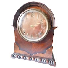 Art Deco 1920's Ingraham Calais Copper-Face Burled Wood Mantle Clock