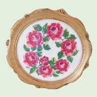 Vintage Rose Needlepoint Mini Tray/Framed Wall Hanging