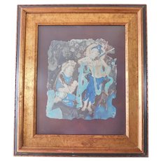 Thai Asian Painting Mid Century Guanyin, Goddess of Compassion