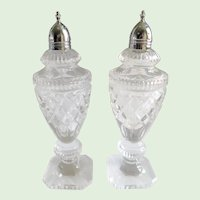 Cut Glass and Silver Mid Century Salt & Pepper Shakers - A Pair