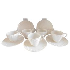 Wedgwood Of Etruria and Barlaston Queensware English Demi-Tasse Cream Cups & Saucers -Set of Five