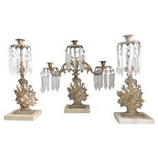 Antique Victorian Bronze Floral Girandole Candelabra Candleholder Set - Three Piece Set