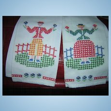Pair Embroidered Man & Woman Dish Towels