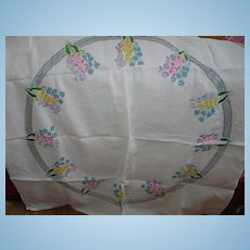 Vintage Embroidered Floral Tablecloth