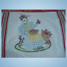 Embroidered Apple Lady Towel