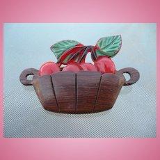 Bakelite  & Wood Cherry Basket Pin