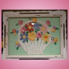Framed Country Cottage Crochet Basket