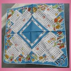 1952 Vintage Calendar Handkerchief