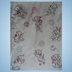 Vintage Kitty Embroidered Baby Cover
