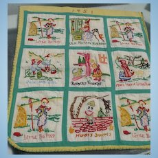 1951 Hand Embroidered Nursery Rhymes
