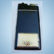 Enamel & Guilloche Compact Cigarette Lighter Case