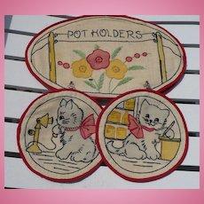 Hand Embroidered Cat Pot Holder Set