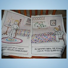 1939 Hand Embroidered Childs Pictures