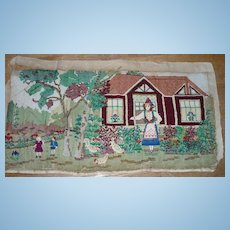 Vintage  Woven Embroidered Scene