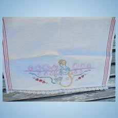 Lady Washing Dishes  Embroidered Towel