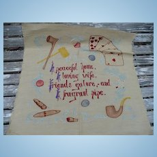 Embroidered Pipe Smoking Textile