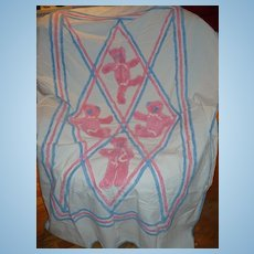 Childs Chenille  Blanket Cover  Teddy Bears