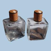 Pair Glass Vanity Bottles Guillioche  Tops