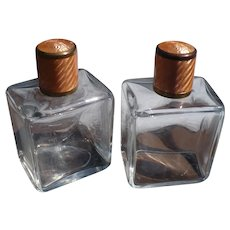 Pair Glass Vanity Bottles Guillioche  Tops