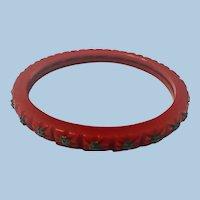 Red Bakelite Spacer Metal Studs