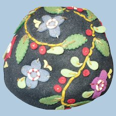 1930's-40's Embroidered Felt Cap Hat