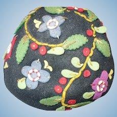 1930's-40's Embroidered Felt Cap Hat