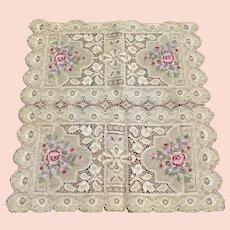 1930's Lace Petit Point Handkerchief