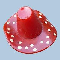 Red Bakelite Polka Dot Hat Pin