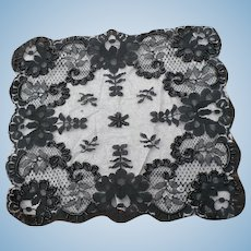 Beaded Black Lace Handkerchief