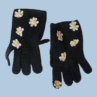 Stretch Crochet Flower Gloves