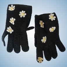 Stretch Crochet Flower Gloves
