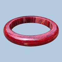 Dark Red Marbled Bakelite Bracelet