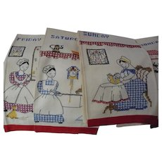 Seven Days of Week Embroidered Towels Amish Lady